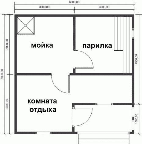 Схема проект бани из сруба